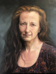 Oil portrait of Susie, in relaxed mode between lockdowns in 2020.