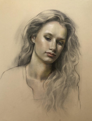 Portrait- oil over graphite and charcoal on paper