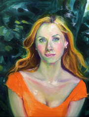 Oil portrait study  of young woman  in orange dress