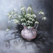 Oil study of snowdrops in a pink jug