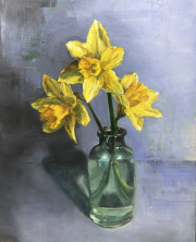Three Daffodils, Oil on cradled panel