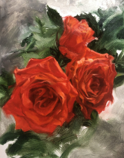Oil study of three red roses