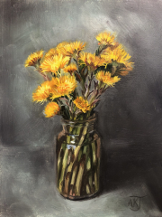 Coltsfoot Flowers in a Bottle, oil on panel