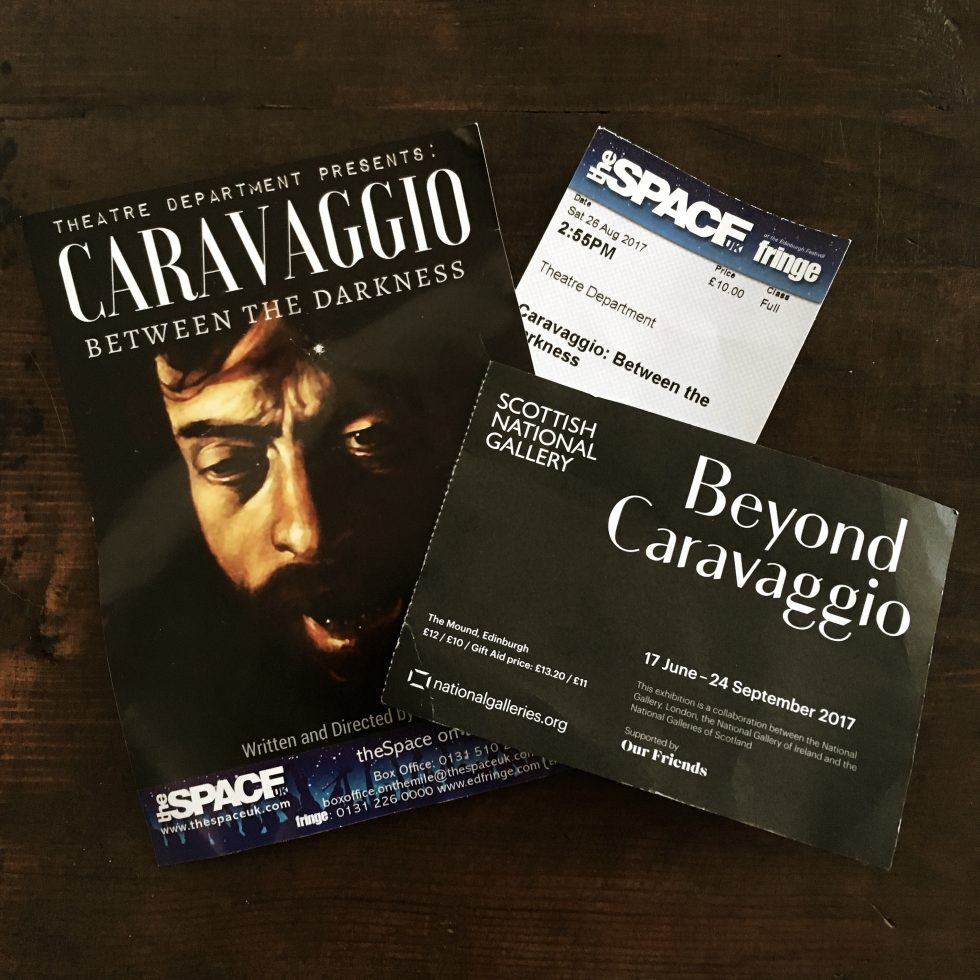 "Flyer and tickets to play about Caravaggio, and ticket to exhibition ""beyond Caravaggio"" at the National Gallery of Scotland"