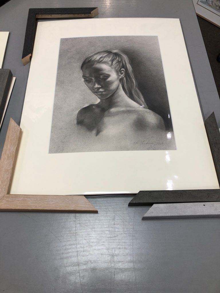 Original drawing with sample mount and frame